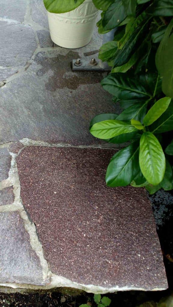 Porphyr Zement Reinigungsprobe